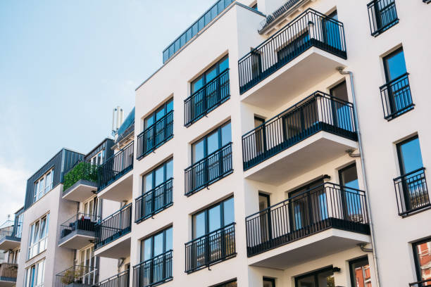 beautiful and clean apartment building stock photo
