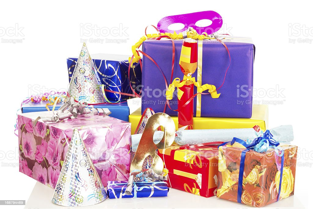 Beautiful and colorful gifts on the table royalty-free stock photo