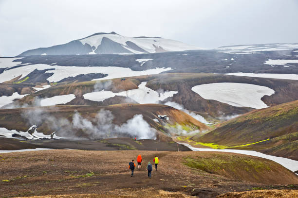 Beautiful and colorful mountain landscape in Landmannalaugar, Iceland. Travel and scenic places to hike. stock photo