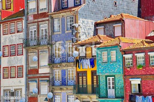 Beautiful and colorful Porto Streets near Rio Douro