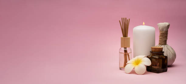 Beautiful and concise spa composition on pink background. stock photo