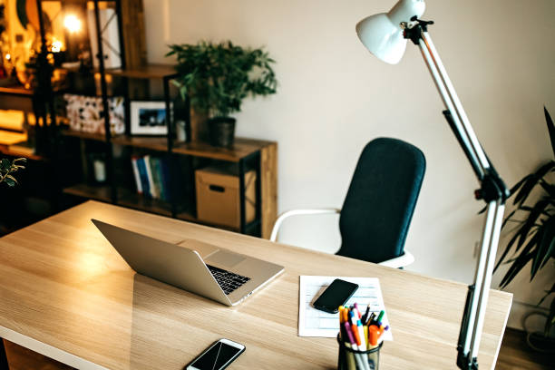 Beautiful and cozy home office stock photo