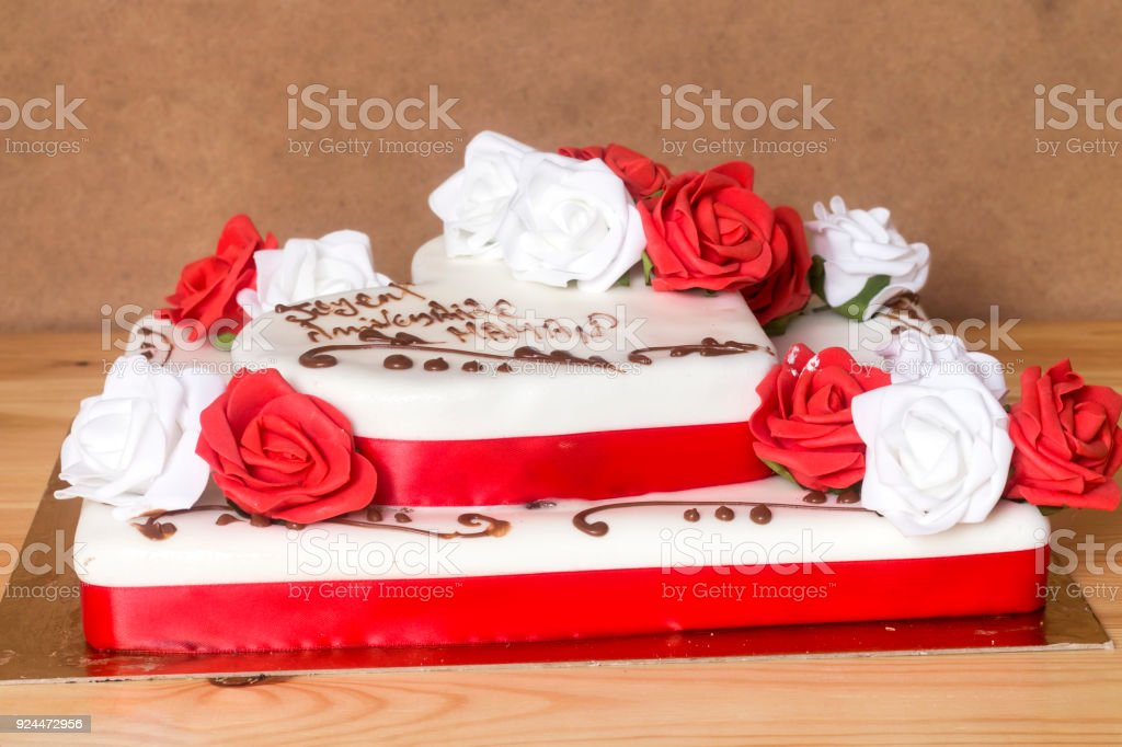 beautiful and delicious cake with happy birthday mom text translated in french royalty free stock