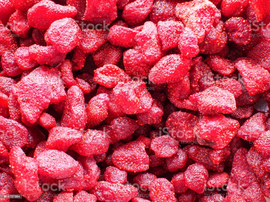 Beautiful And Delicious Sweet Sour Dried Pickled Red Pink Strawberry For Background Backdrop