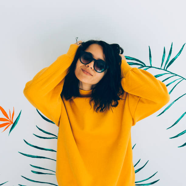 beautiful and fashionable woman - sweatshirt stock photos and pictures