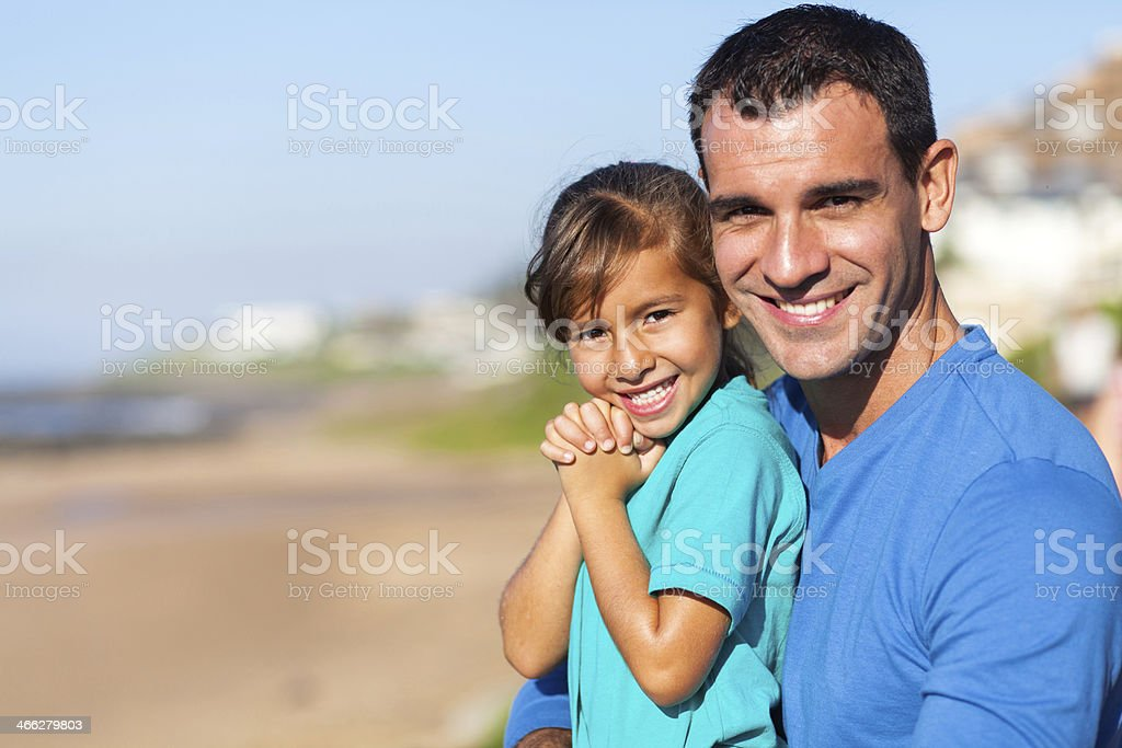 beautiful and father at beach royalty-free stock photo