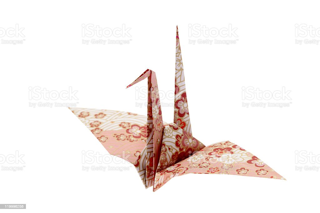 A beautiful and flower patterned origami bird royalty-free stock photo