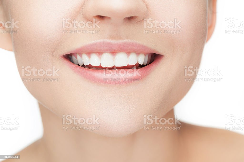 Beautiful and healthy woman smile, close-up stock photo