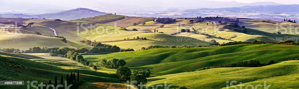 Beautiful and miraculous colors of green spring panorama landsca stock photo