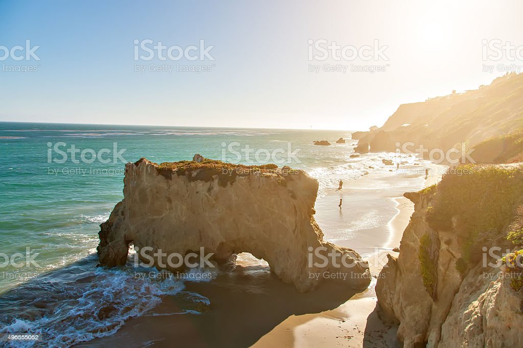 Beautiful and romantic El Matador Beach in Malibu stock photo