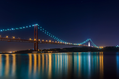 Beautiful and serene view of the Tagus River and the 25 of April Bridge (Ponte 25 de Abril) at night, in Lisbon, Portugal