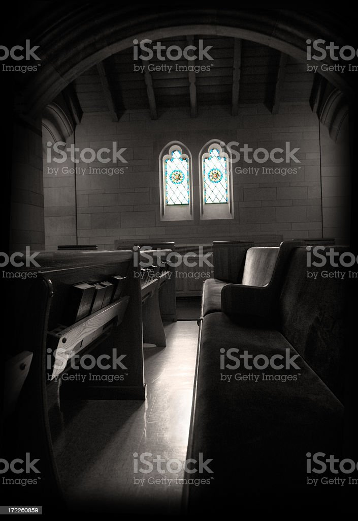Beautiful and Solemn Interior of an Empty Church royalty-free stock photo