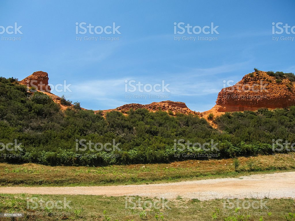 Beautiful and unique red rock formations at Las Medulas, Spain stock photo