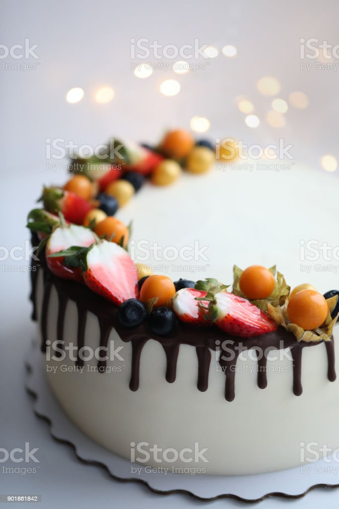 Beautiful And Yummy Cake With Strawberry Happy Birthday Celebration