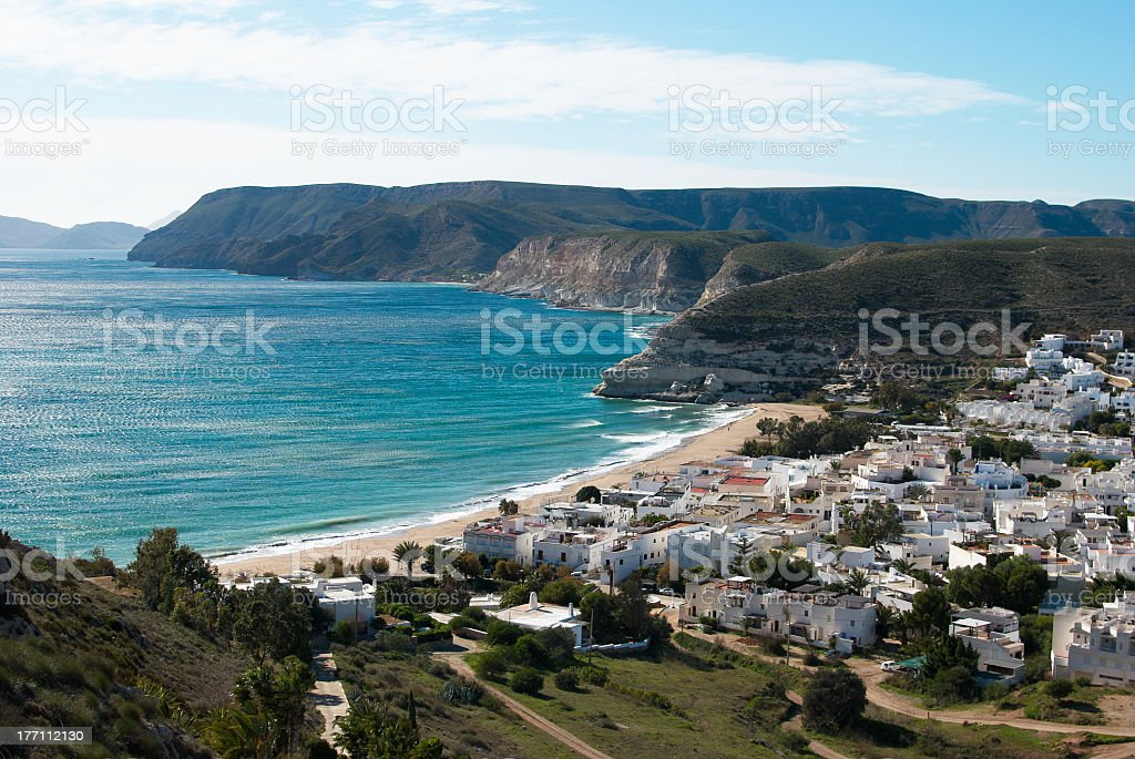 Beautiful Andalusian village by the sea stock photo