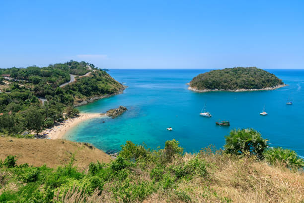 Beautiful Andaman sea from Windmill View Point near Laem Promthep Cape, Phuket, Thailand Beautiful Andaman sea from Windmill View Point near Laem Promthep Cape, Phuket, Thailand headland stock pictures, royalty-free photos & images