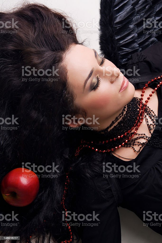 Beautiful angel girl is dreaming royalty-free stock photo