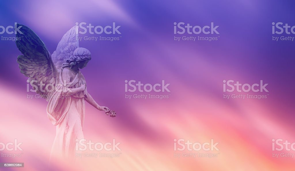 Beautiful angel in heaven panoramic veiw stock photo