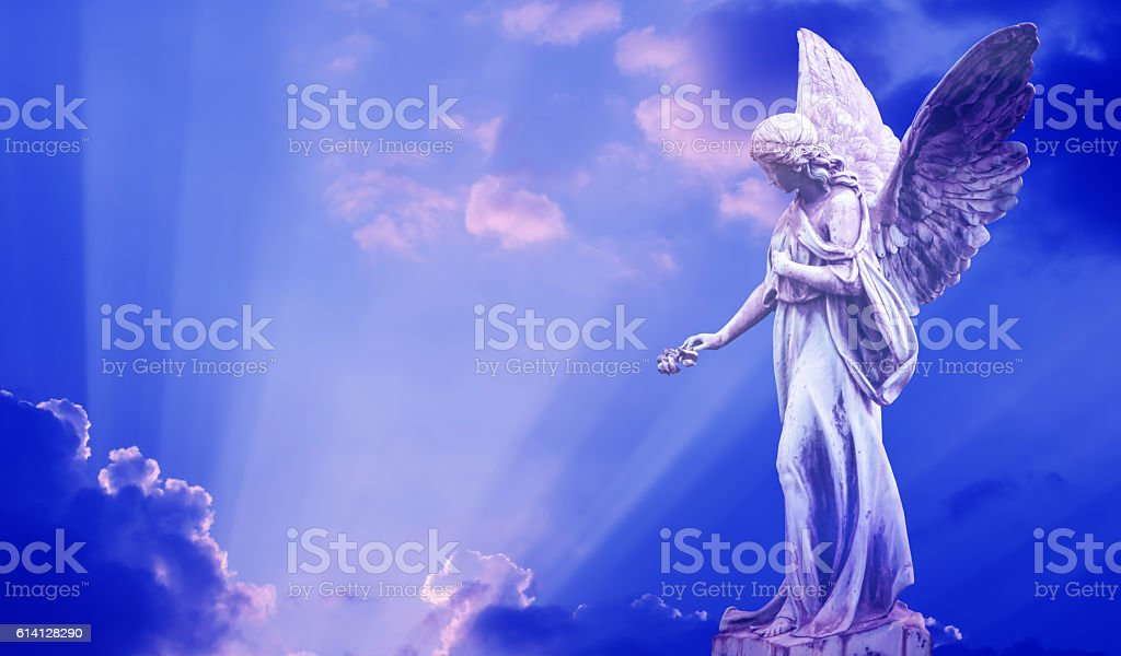 Beautiful angel in heaven stock photo