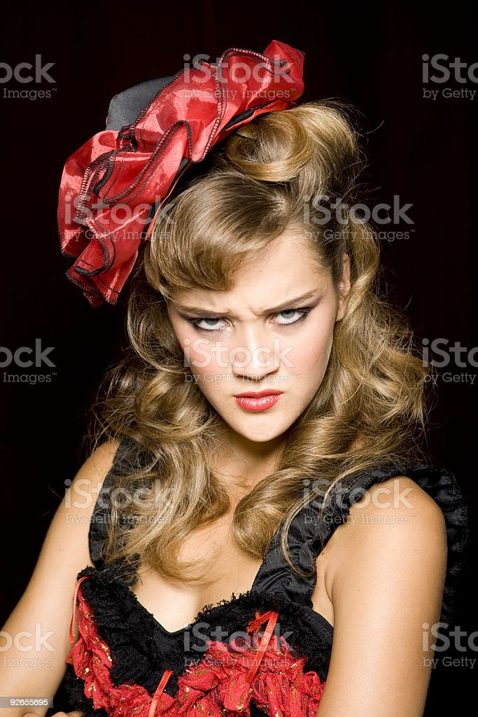 Beautiful angry  french can-can dancer girl royalty-free stock photo