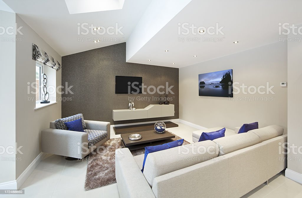 beautiful angular TV room royalty-free stock photo