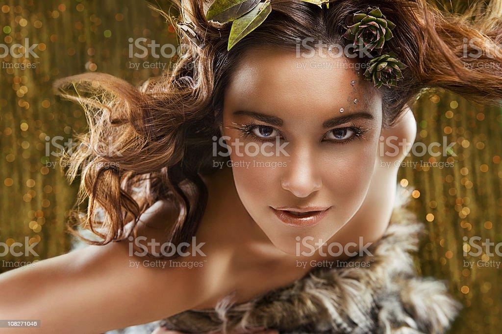 Beautiful Animalistic Young Woman Head Shot, Fantasy Make-Up royalty-free stock photo