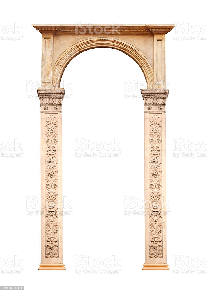 Beautiful antique arch isolated on white background stock photo