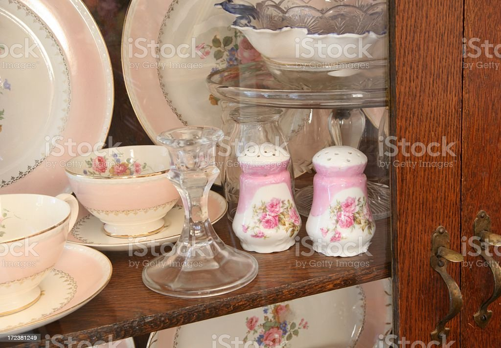Beautiful Antique China and glassware in old cabinet 2 stock photo
