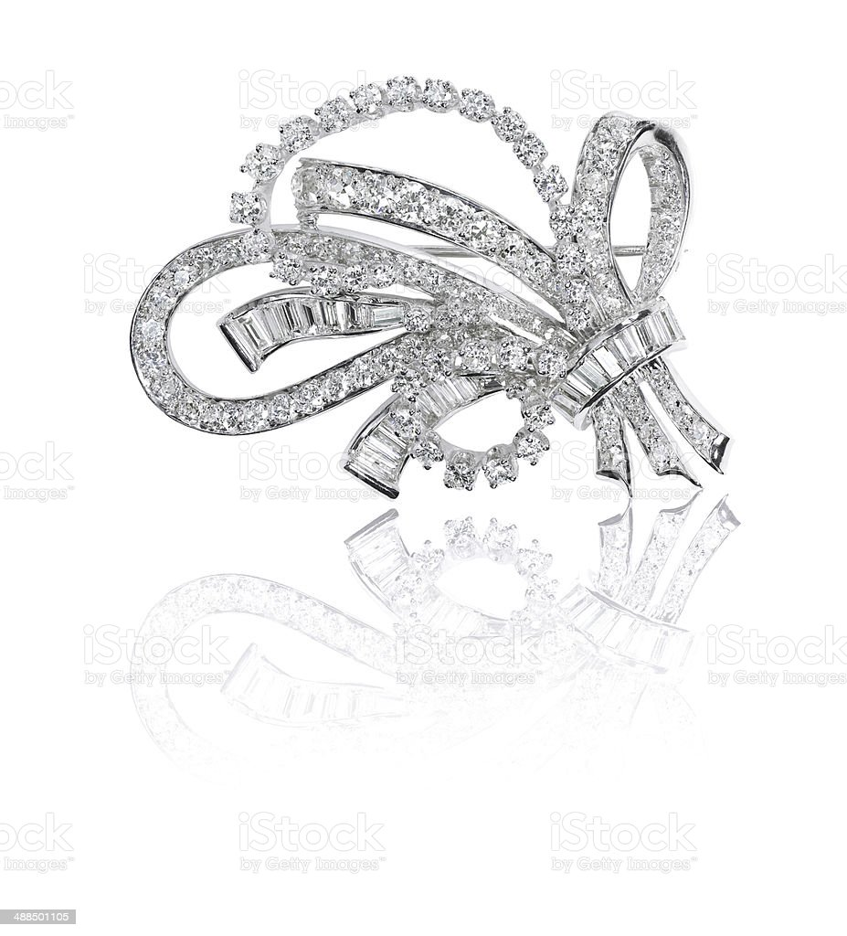 Beautiful antique diamond brooch royalty-free stock photo