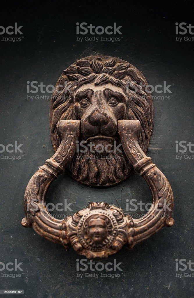 beautiful antique door handle stock photo
