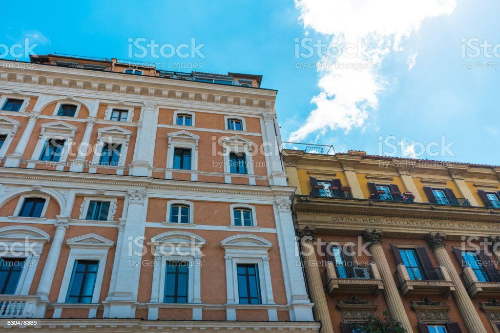 beautiful apartment buildings in the heart of rome stock photo
