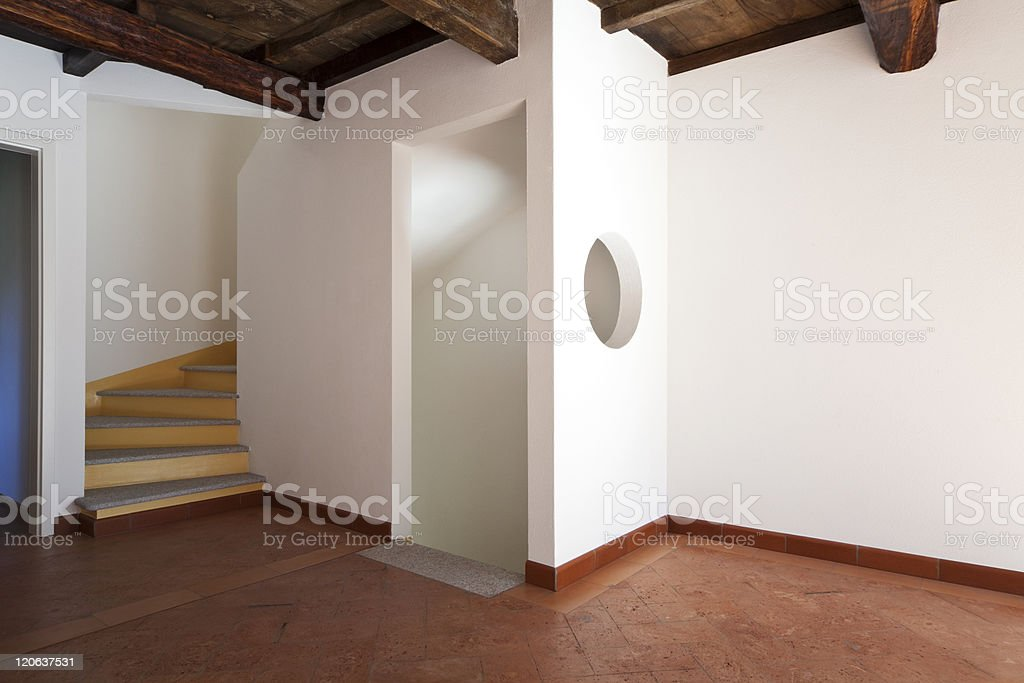 beautiful apartment refitted, exposed beams royalty-free stock photo