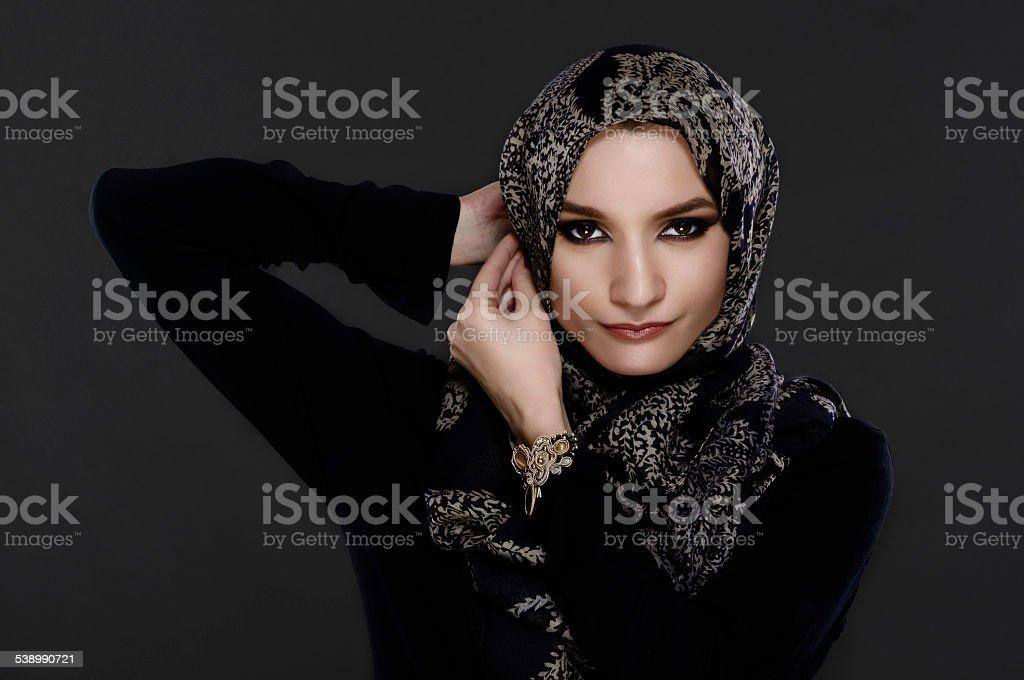 Beautiful Arab Woman Wearing Abaya stock photo