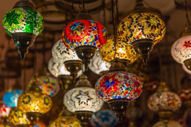 beautiful arabian lamps at souk of nizwa, oman - oman стоковые фото и изображения