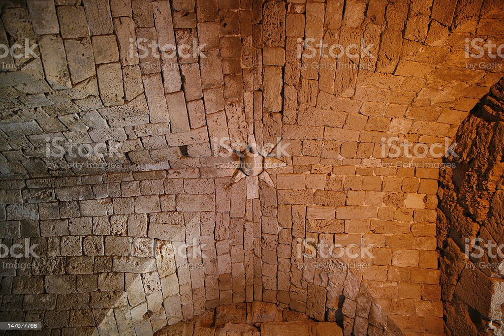 Beautiful arch in an ancient castle royalty-free stock photo