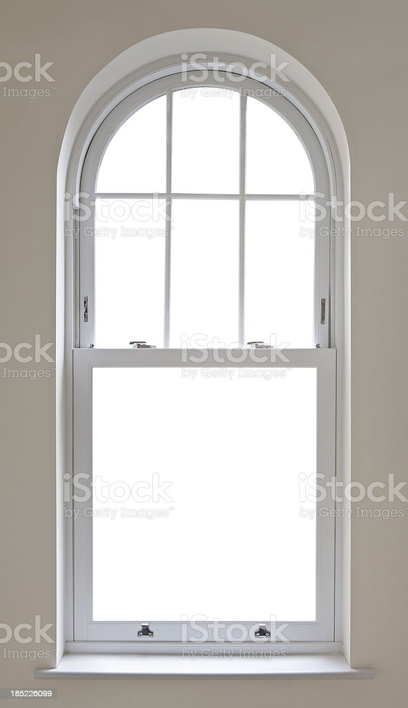 beautiful arched window with clipping path stock photo