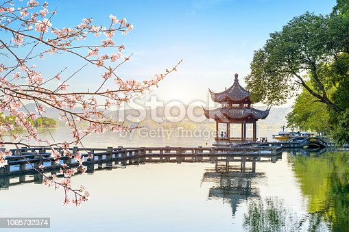 istock Beautiful architectural landscape and landscape in West Lake, hangzhou 1065732374