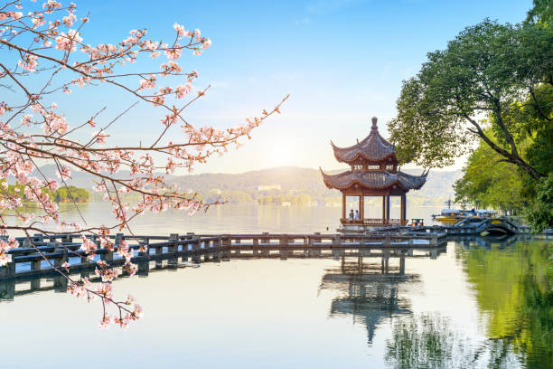 Beautiful architectural landscape and landscape in West Lake, hangzhou stock photo