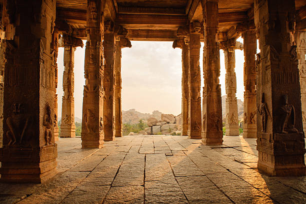 Beautiful architecture of ancient ruines of temple in Hampi stock photo