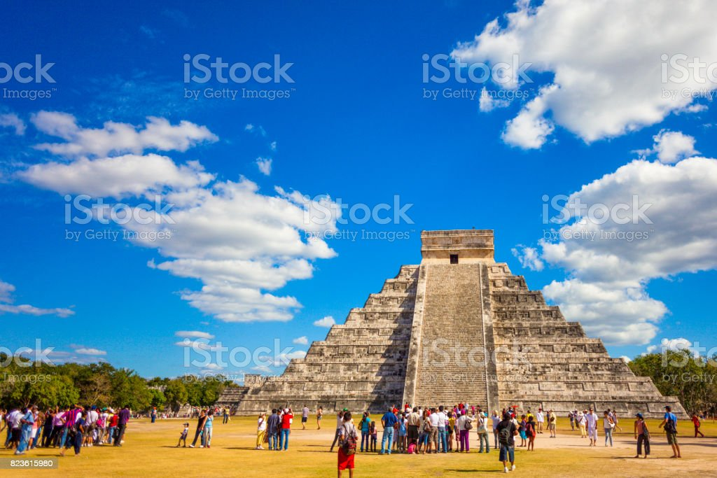 Beautiful architecture of Kukulkan pyramid in Chichen Itza, this pre-Columbian city situated in Mexico's Yucatan state. stock photo