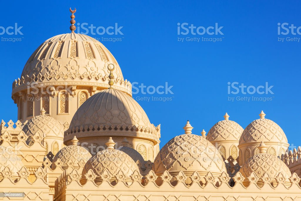 Beautiful architecture of Mosque in Hurghada stock photo