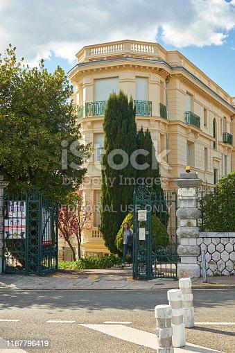 Nice, France - April 04, 2019: Beautiful arhitecture on Avenue des Arenes de Cimiez