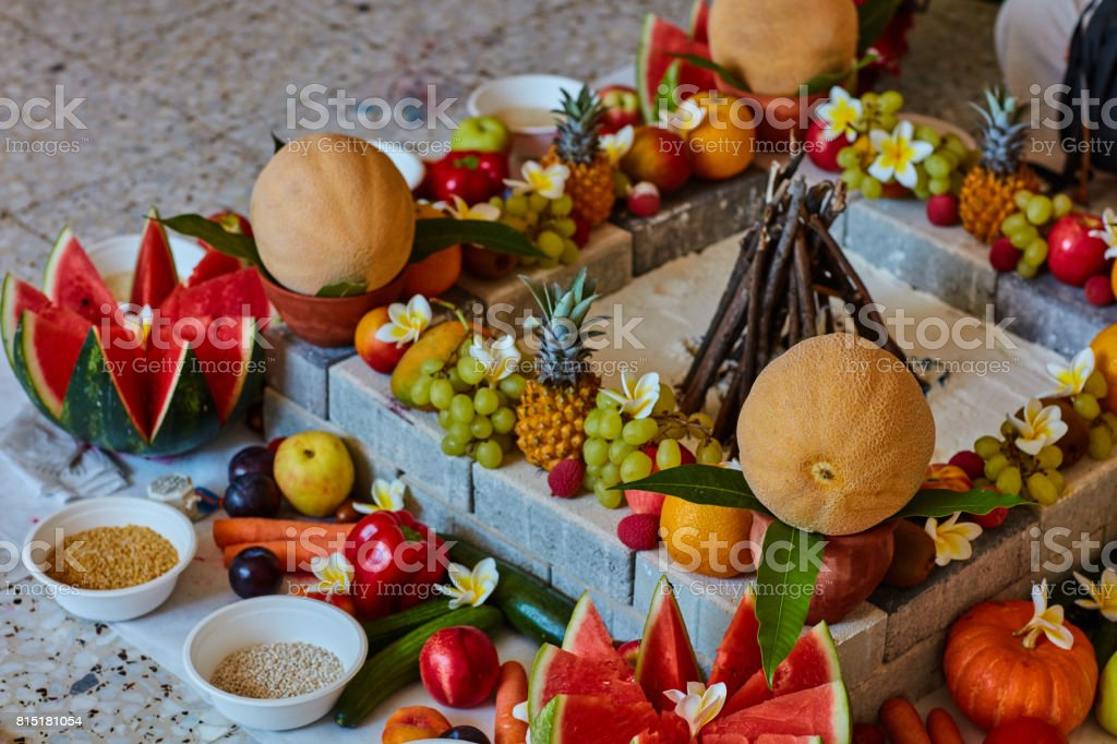 Beautiful arranged place for Vedic wedding stock photo