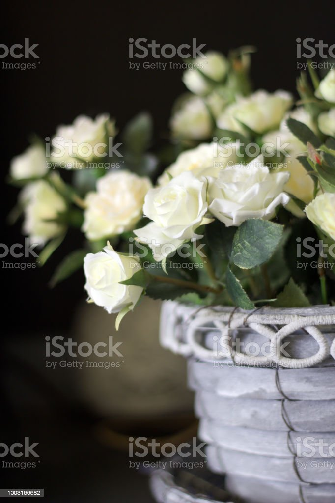 Beautiful Artificial White Roses In A Vase Stock Photo More