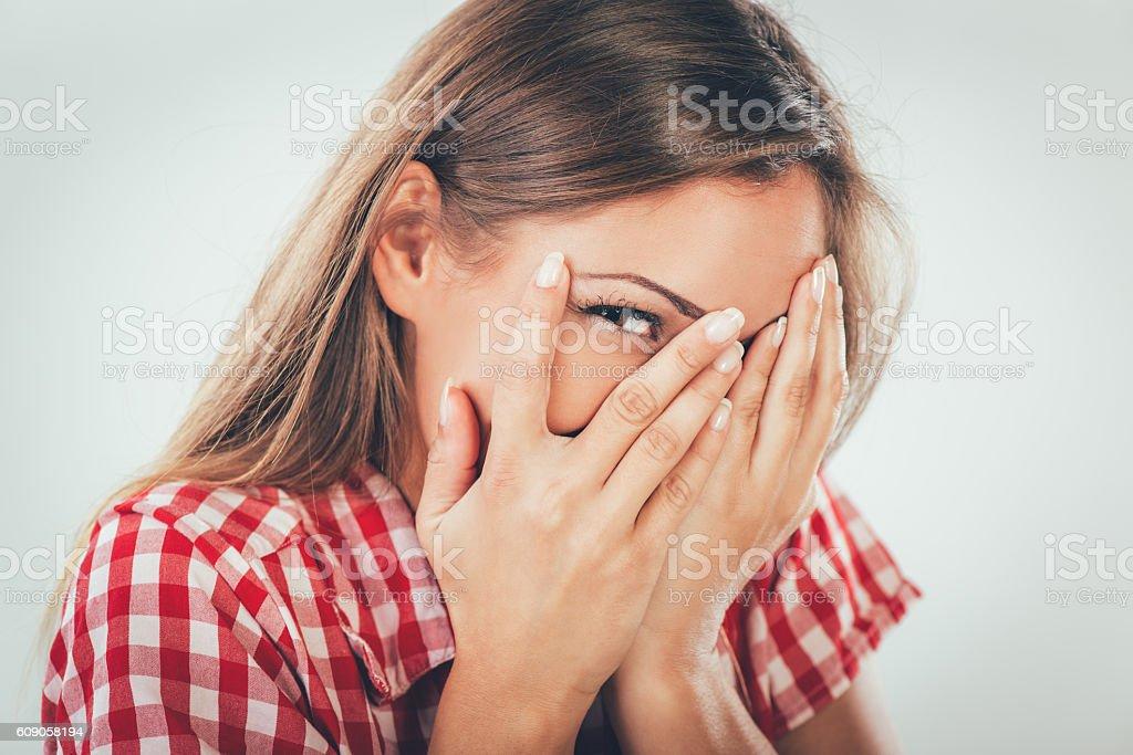 Beautiful Ashamed Girl stock photo