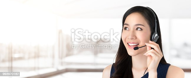 istock Beautiful Asian customer service call center staff looking to empty space 993970182