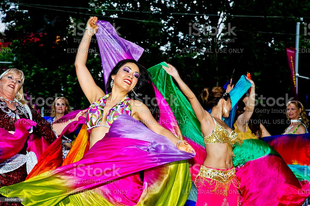 Beautiful Asian dancers at a multicultural festival in Sydney stock photo