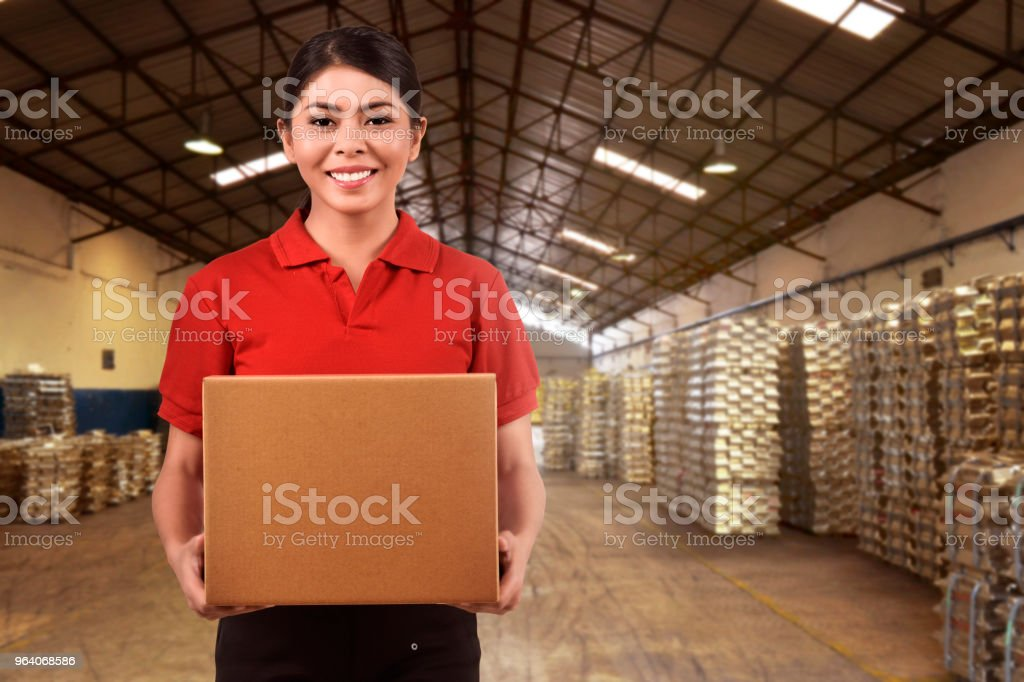 Beautiful asian delivery woman carrying boxes - Royalty-free Adult Stock Photo