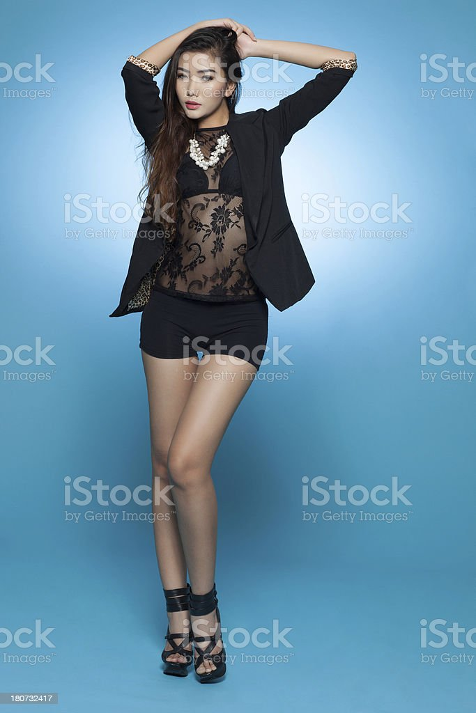 Beautiful asian lady in classy fashion wear royalty-free stock photo
