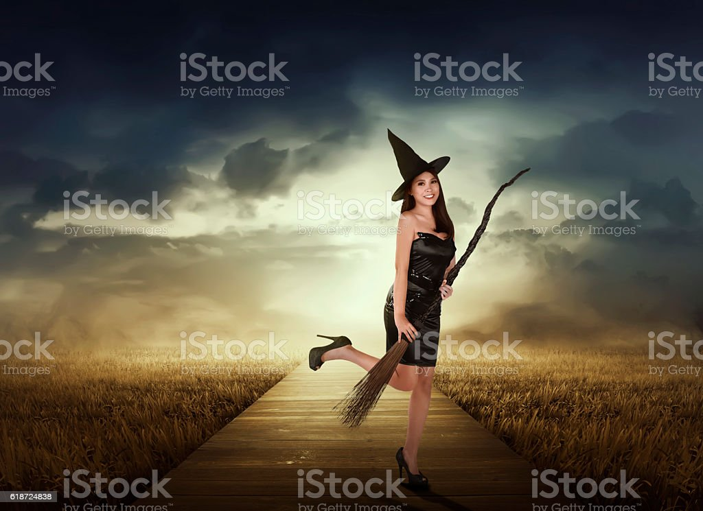 Beautiful asian witch woman with black hat on the meadow stock photo